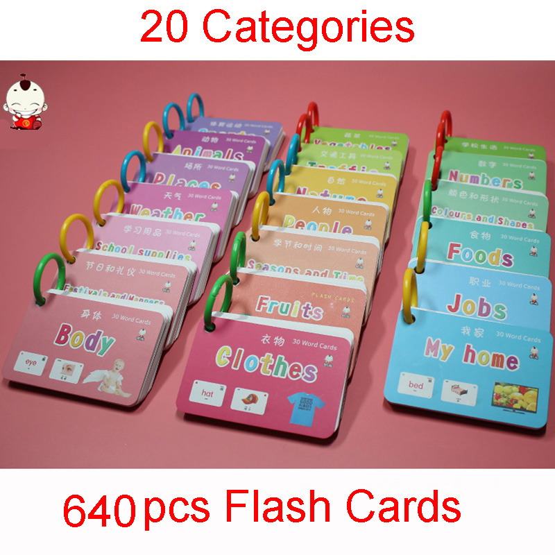 640Pcs 20 Catrgories Chinese English Flash Cards Pocket Word Card Educational Toys For Children Kid Games With Mandarin Voice