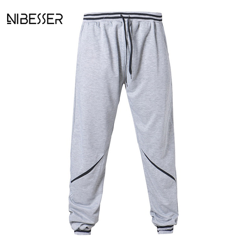 NIBESSER Fashion Sweat Pants Plus Size Elastic Waist Pants Male Mid Waist Fitness Skinny Pants Printed Lightweight Trousers