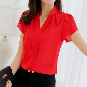 Plus rozmiar bluzka damska 2019 letnia koszulka z krótkim rękawem czerwona biurowa damska koszula z szyfonu elegancka koszulka robocza Casual odzież damska tanie i dobre opinie ZSIIBO Polyester REGULAR WOMEN None Szyfonowa Solid Latarnia rękaw Stojak Pani urząd