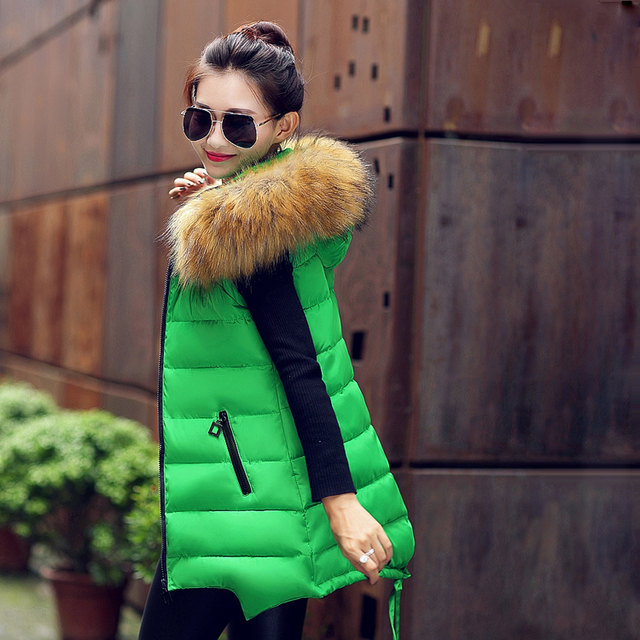 2016 winter vest women fur collar hooded sleeveless jacket warm long slim zipper waistcoat colete feminino DX070