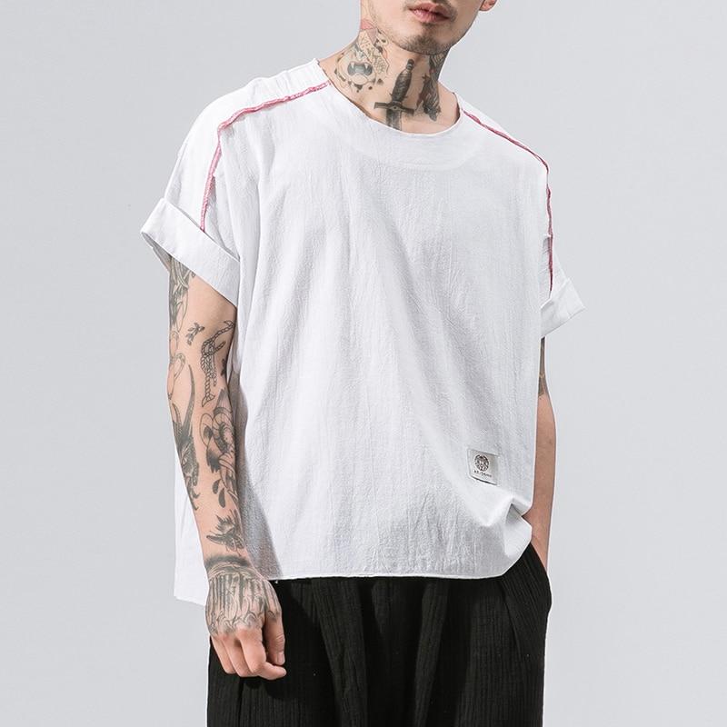 MRDONOO 2018 New Summer Brand Shirt Men Short Sleeve Loose Thin Cotton Linen Shirt Male Fashion Solid Color O-Neck Tees B375-D01
