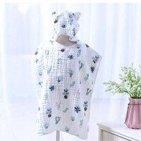 4 Layers Baby Boy Girl Bath Towel Ultra Soft Kids Hooded Cloak Cartoon Cotton Gauze Infant