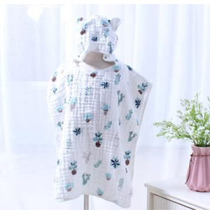 Image 2 - 6 layer Child Hooded Cloak Ultra soft Superabsorbent Muslin Gauze Infants Bath Towel Printing Gauze Beach Towel  Baby  Girls Bab