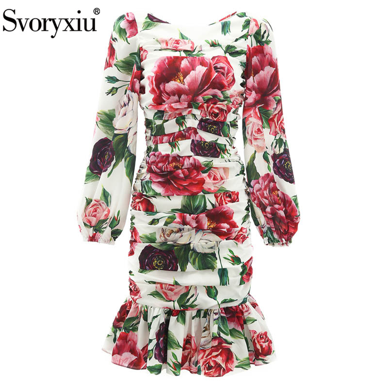 Svoryxiu Runway Autumn Sheath Dress Women s Lantern Sleeve Charming Peony Flower Print Sexy Fold Package