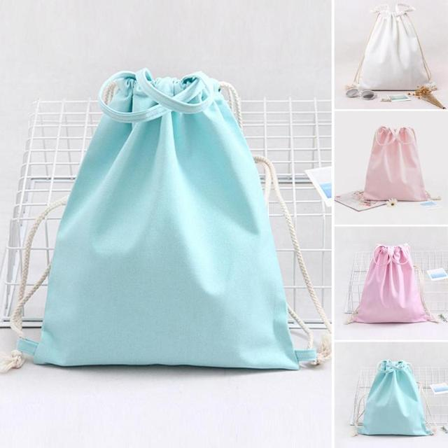5eb0eb7dc2 1 Pc Women Backpacks Pure Color String Shoulder Bags Cotton Canvas  Drawstring Backpack Sack Bag Gym School Outdoor Bag A30