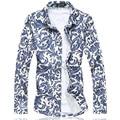2016 mens dress shirts floral social shirt M-5XL 6XL 7XL C6180 camisas social masculina camisas hombre vestir