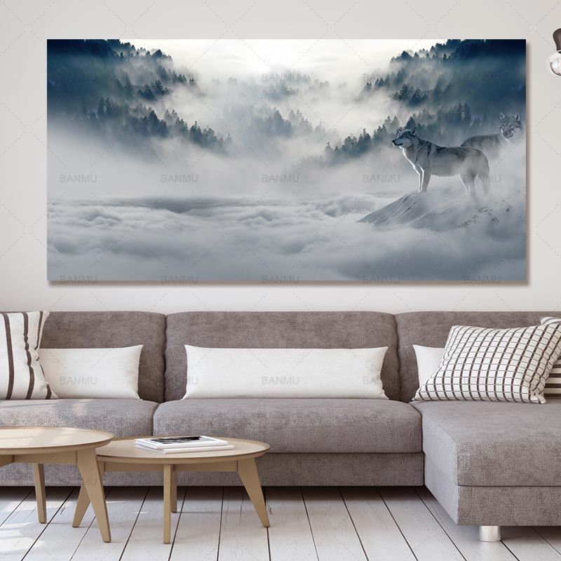 Canvas Painting Art wall Modern Poster wolf picture landscape abstract print and poster picture decor print on canvas wall art
