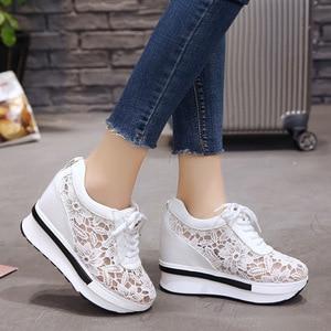 Image 4 - Frauen Vulkanisieren Schuhe Turnschuhe Plattform 10 cm Keile Ferse Spitze Cut outs Weiß Weibliche Casual Schuhe 2019 Frühling sommer Schuhe