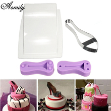 Aomily Silicone Stainless High Heel Fondant Cake Mould Kit Women Shoe Shape Chocolate Cookies Mold Birthday Party Cake Tools