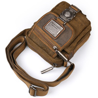 Ruil retro canvas small bag men's fashion multi functional pockets leisure travel phone bag high quality toolkit vintage package