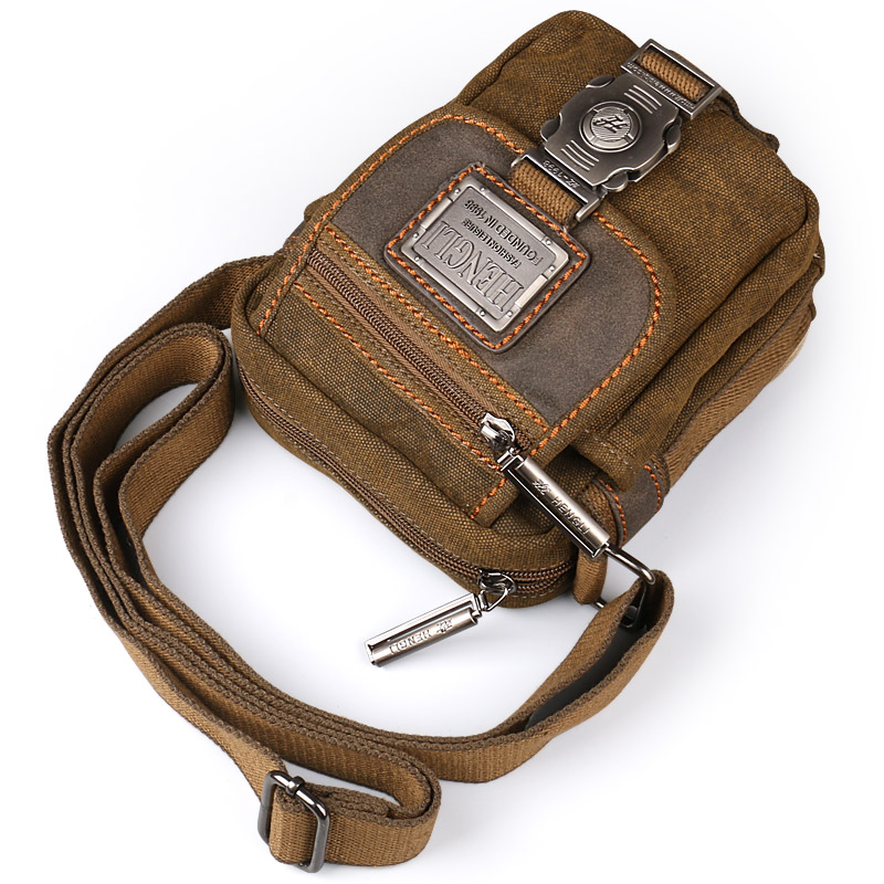 Ruil retro canvas small bag men's fashion multi-functional pockets leisure travel phone bag high-quality toolkit vintage package