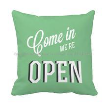 Carta entrar somos abierta impreso personalizado verde llanura throw pillow case funda de cojín en casa y panadería decorativo