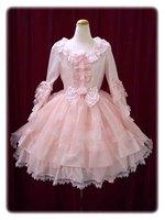 Girls Vintage Lolita Palace Princess Dress Long Sleeve Pink Lace Multi layered With Bow Dress Women Halloween Princess Costume