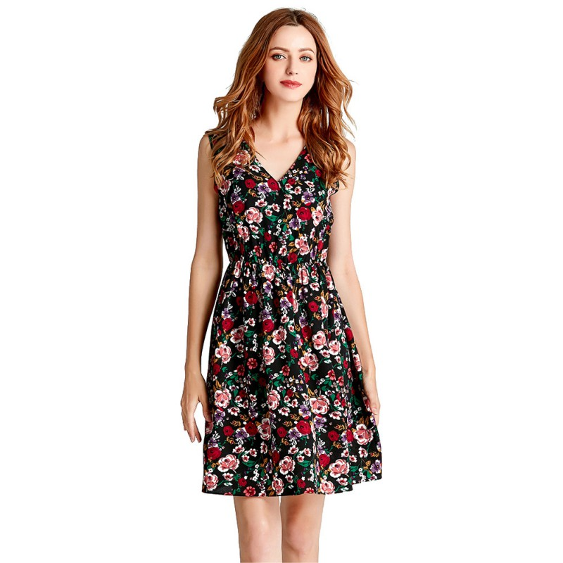 <font><b>2018</b></font> <font><b>Sexy</b></font> <font><b>Chiffon</b></font> <font><b>Dress</b></font> Floral Short Beach <font><b>Dresses</b></font> Casual Summer V Neck Women Vestido image