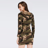 2018 New large size loose dress camouflage knit design with a cap dress female hooded Above Knee Dress ER215
