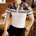 Top con estampado floral de manga corta para hombre polo camisas 2017 nuevo moda de verano slim fit polo homme plus size marca de ropa negro blanco