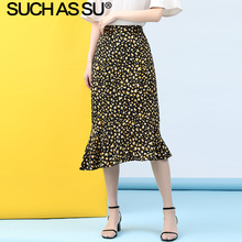 New Chiffon Mermaid Skirt Women 2019 Summer Black Yellow Spot Print High Waist Skirt S-3XL Plus Size Midi Ruffle Skirt Female