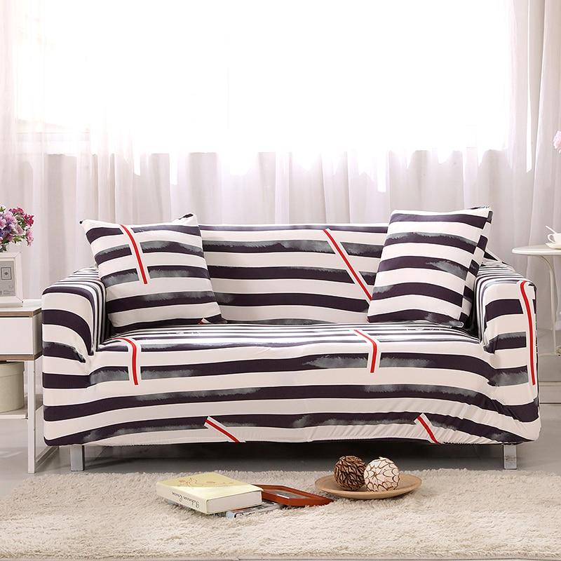 Nordic Black and White Stripes Universal Stretch Sofa