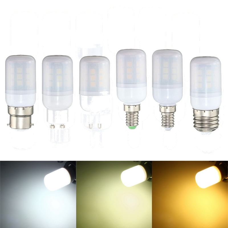 3W 27leds 5050 LED Lamp Bulb E27/E14/B22/G9/GU10 LED Pure Natural Warm White LED Corn Light Bulb 220V Chandelier Decor Lighting