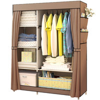 Simple Folding Cloth Wardrobe Fabric Dustproof Closet Steel Pipe Assembly Double Storage Cabinet Home Furniture Bedroom Wardrobe