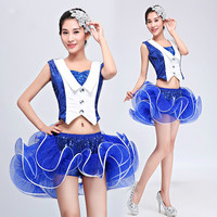 Blue Women Latin Dance Dress for Stage Female Paillette Jazz Dance Costume Night Club DJ Dance Clothing Ballroom Dance Wear 89