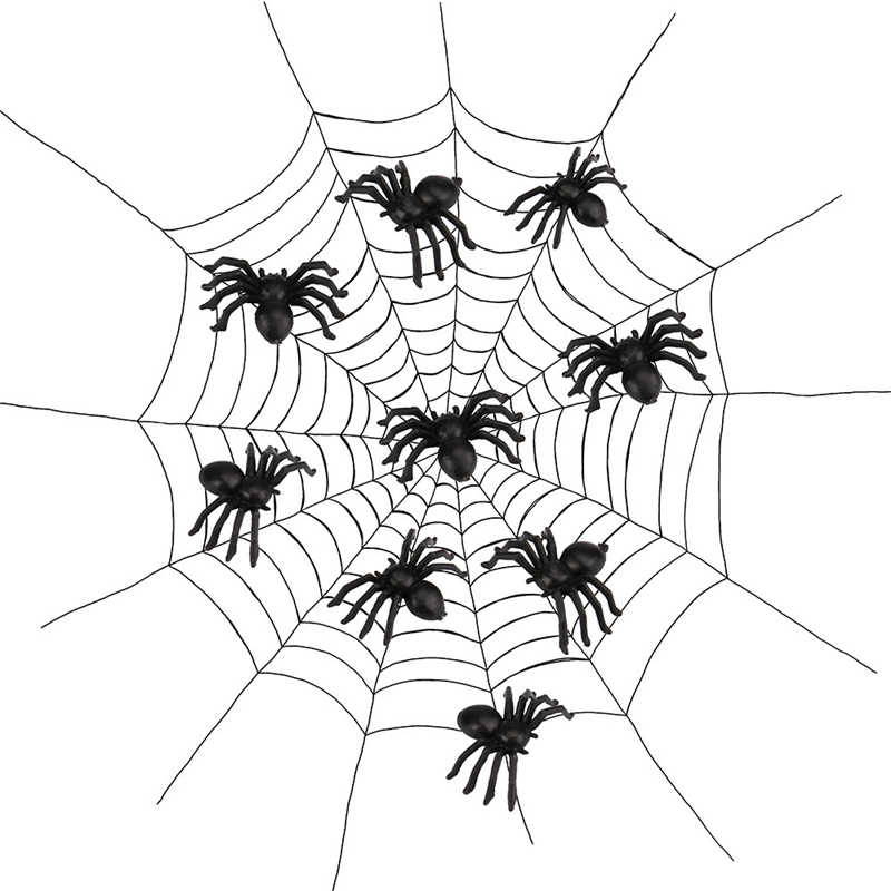 Black Halloween 20pcs Plastic Spider Trick Toy Party Halloween Haunted House Prop Decor To Have Fun with Friends Drop Ship20#