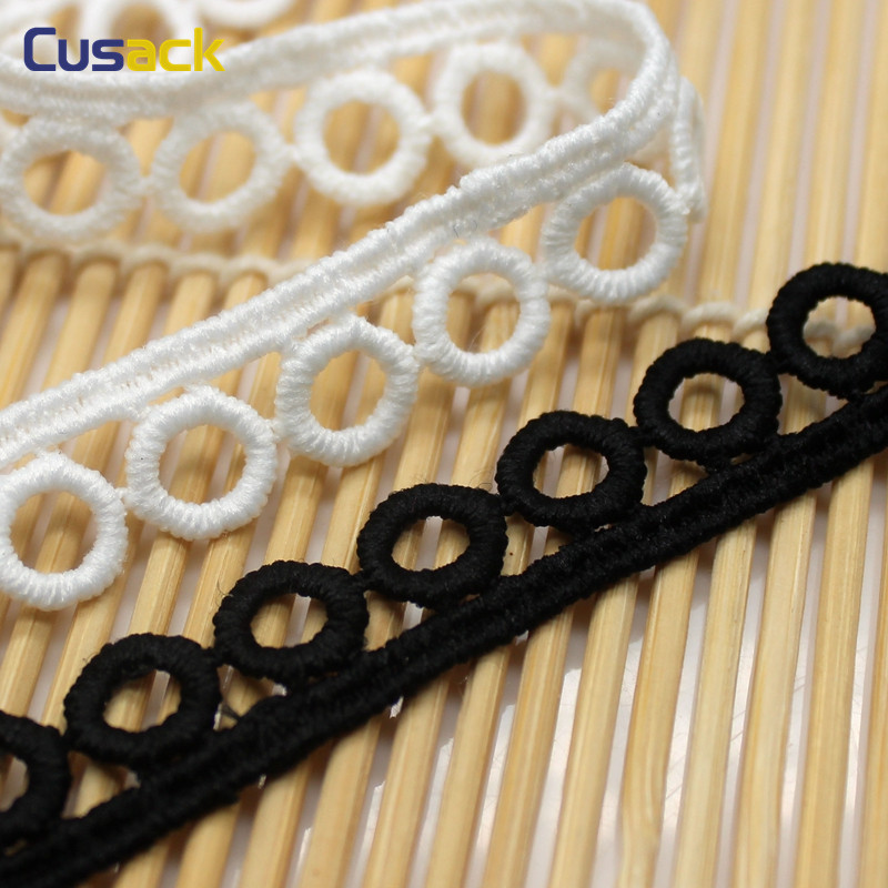 7 yards 1.2 cm White Black Circle Lace Trims Applique Milk Fiber for Costume Trimmings Home Textiles Sewing Lace Fabric