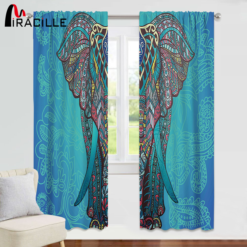 Miracille Indian Elephant Curtains Thermal Insulated Curtains Blackout Curtain Drape For Living Room Bedroom Window Home Decor