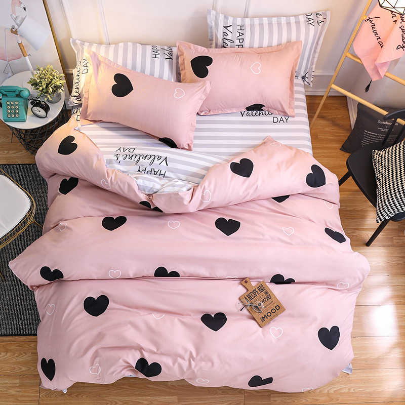 Home Bedding Duvet-Cover-Set Bed Linens Heart Pink American-Style Women AB