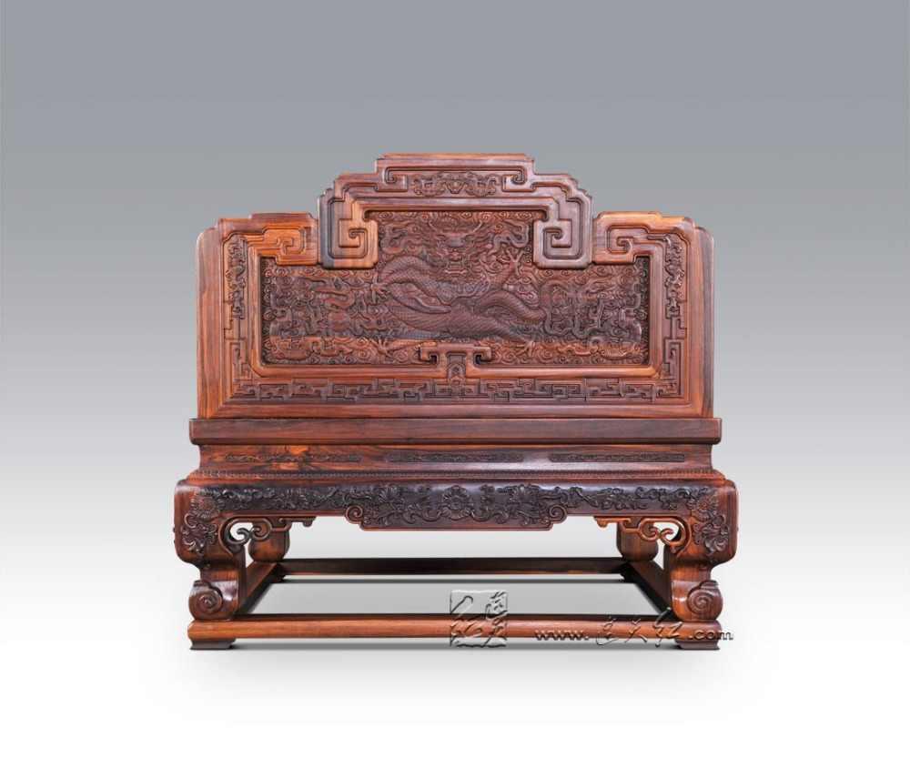Tron cesarski rzeźbione chmura-smok palisander Hotel salon luksusowe meble z litego drewna król fotele czerwony drewniane antyczne