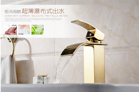 ФОТО fashion Brass high quality unique design gold finished hot and cold bathroom waterfall sink faucet,basin tap mixer
