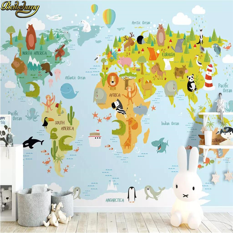 Beibehang Custom Nordic Modern Mural Wall Paper For Wall Cartoon Animal World Wallpaper For Kids Room Children's Room Background