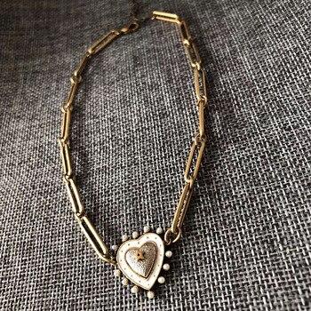 Copper Blue Pink Heart Earrings Necklace