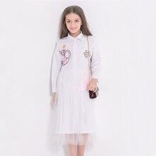 Autumn Childrens Dress Cartoon Patch White Girls Long Style Gauze Shirt Long-Sleeved Princess Dresses for Teenagers 6789 10 11