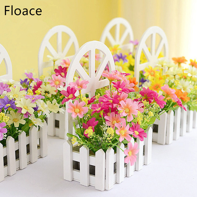 Floace Wall Fence Kit Pastoral flores artificiales flores de seda sala de estar dormitorio decoración