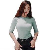 Sexy Tee Shirt Women T Shirt Women Seven Sleeve T Shirt Women Tight Thin Casual Tees