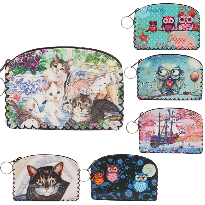 THINKTHENDO Cute Women Cartoon Animal Owl Zipper Change Coin Purse Wallet Pouch Bag Case pacgoth japanese and korean style pu leather coin purse casual animal prints cute cats hot lip pattern zipper cash pouch 1 piece