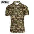 FORUDESIGNS Men's Brand Short Sleeve Skulls Design Polo Shirt High Quality Male Summer Breathable Clothing Tops Casual Polos Men