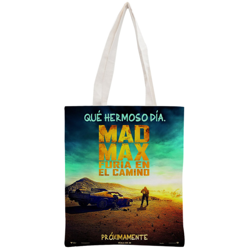 Custom Mad Max Tote Bag Reusable Handbag Women Shoulder Foldable Canvas Shopping Bags Customize Your Image