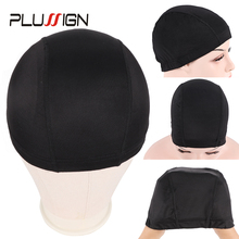 Plussign 12 개/몫 가발에 대 한 도매 스 판 덱 스 돔 모자 탄성 메쉬 Hairnets 직조 모자 평균 크기 Strech Snood 나일론