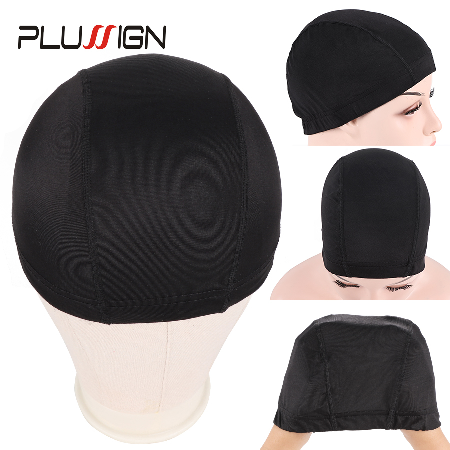Plussign 12 Pcs/Lot Wholesale Spandex Dome Cap For Wig Making Elastic Mesh Hairnets Weaving Cap Average Size Strech Snood Nylon