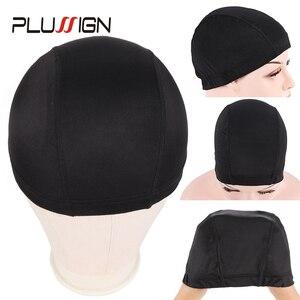 Image 1 - Plussign 12 יח\חבילה סיטונאי סטרץ כיפת עבור פאה ביצוע אלסטי רשת רשתות שיער אריגת כובע ממוצע גודל Strech סנוד ניילון