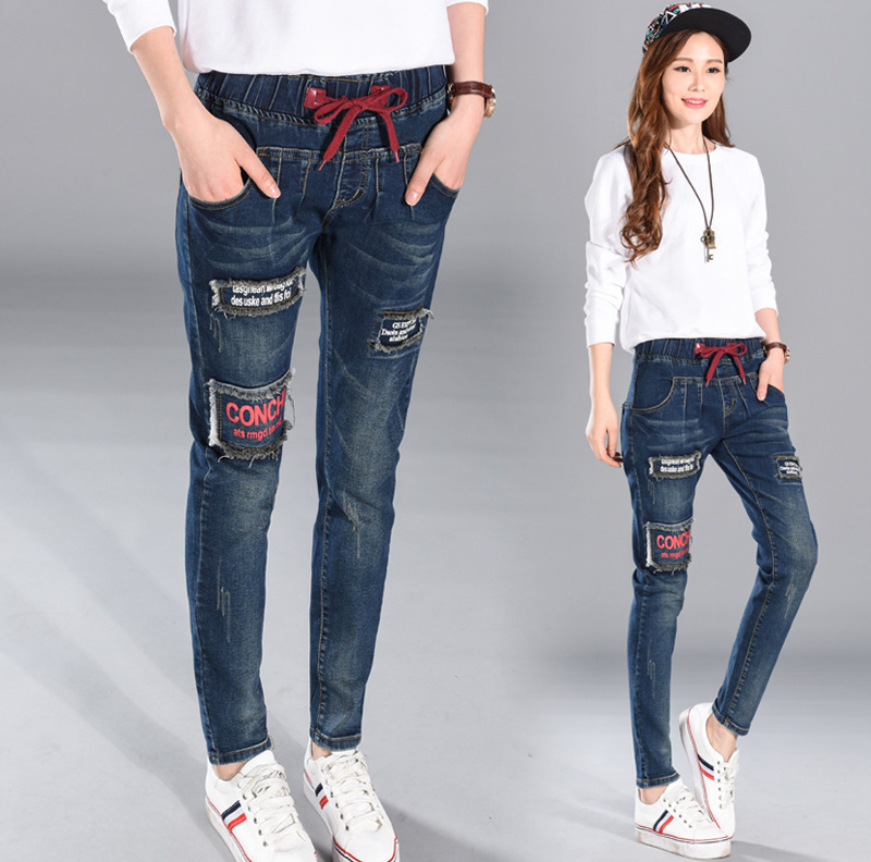 Women Spring Summer Large size Elastic Waist Jeans 2017 Denim Trousers  High Quality Loose Embroidery Slim-type New Denim Pants plus size pants the spring new jeans pants suspenders ladies denim trousers elastic braces bib overalls for women dungarees