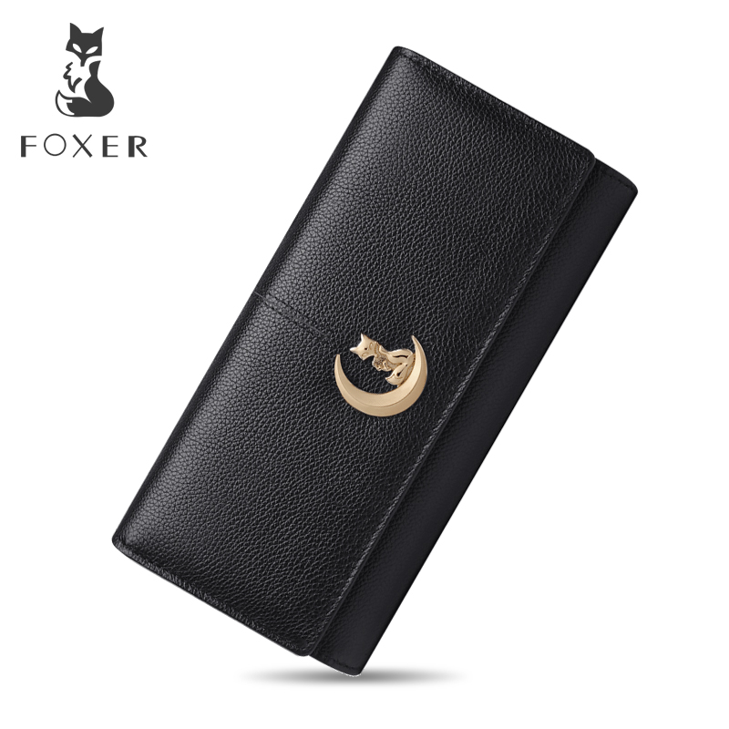 FOXER Brand Women Genuine Leather Wallets Luxury Brand 2018 New Design High Quality Fashion Girls Purse Card Holder Long Clutch 2017 woman wallets luxury design high quality genuine leather famous brand card holder men long wallet purse clutch