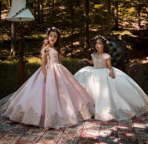 2019 Flower Girl Dress For Weddings Satin Lace Beaded Ball Gown Girl Party Communion Dress Pageant Gown
