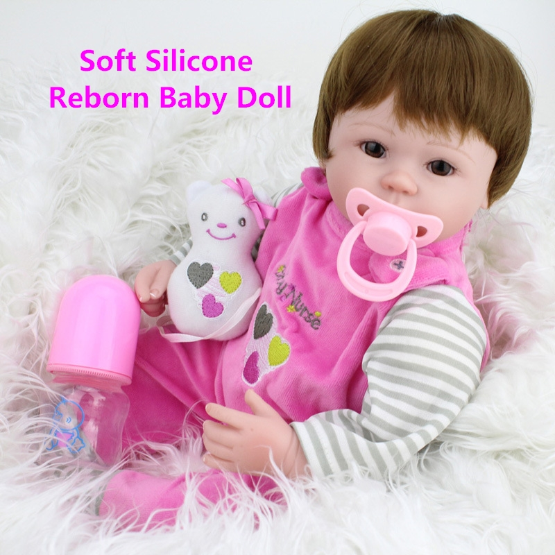 40cm Soft Body Silicone Reborn Baby Doll Toy For Girls Vinyl Newborn Girl Babies Dolls Kids Child Gift Girl Brinquedos Best Gift best girl toys 2017