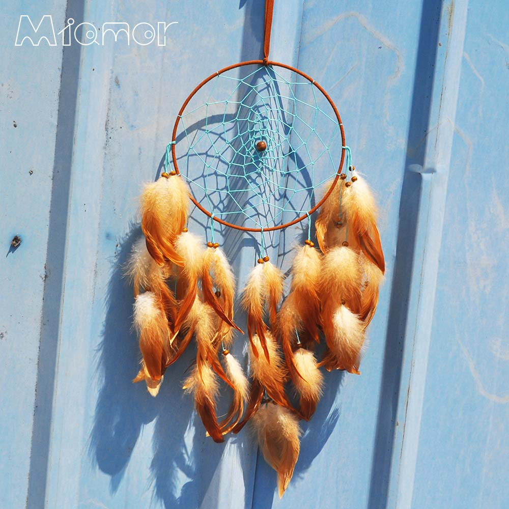 New Fashion Gift India Brown Feather Dreamcatcher Wind Chimes Indian Style Pendant Dream Catcher Regalo Amor7060