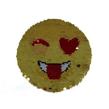 Top t shirt Women 15cm smile funny patch flip the double sided sequins deal with it iron on patches for clothing 3d t shirt mens