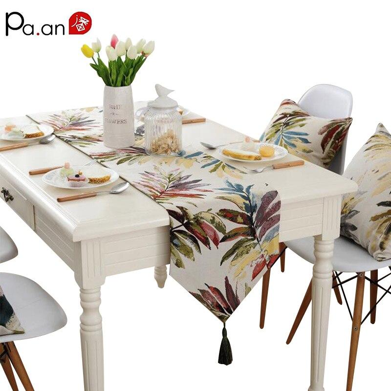 Americana camino de mesa para la boda Jacquard Floral hojas patrón a ...