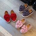 Hot sale crianças shoes big bow flock cores doces meninas shoes princesa flat shoes slip-on sandálias meninas único bebê menina shoes